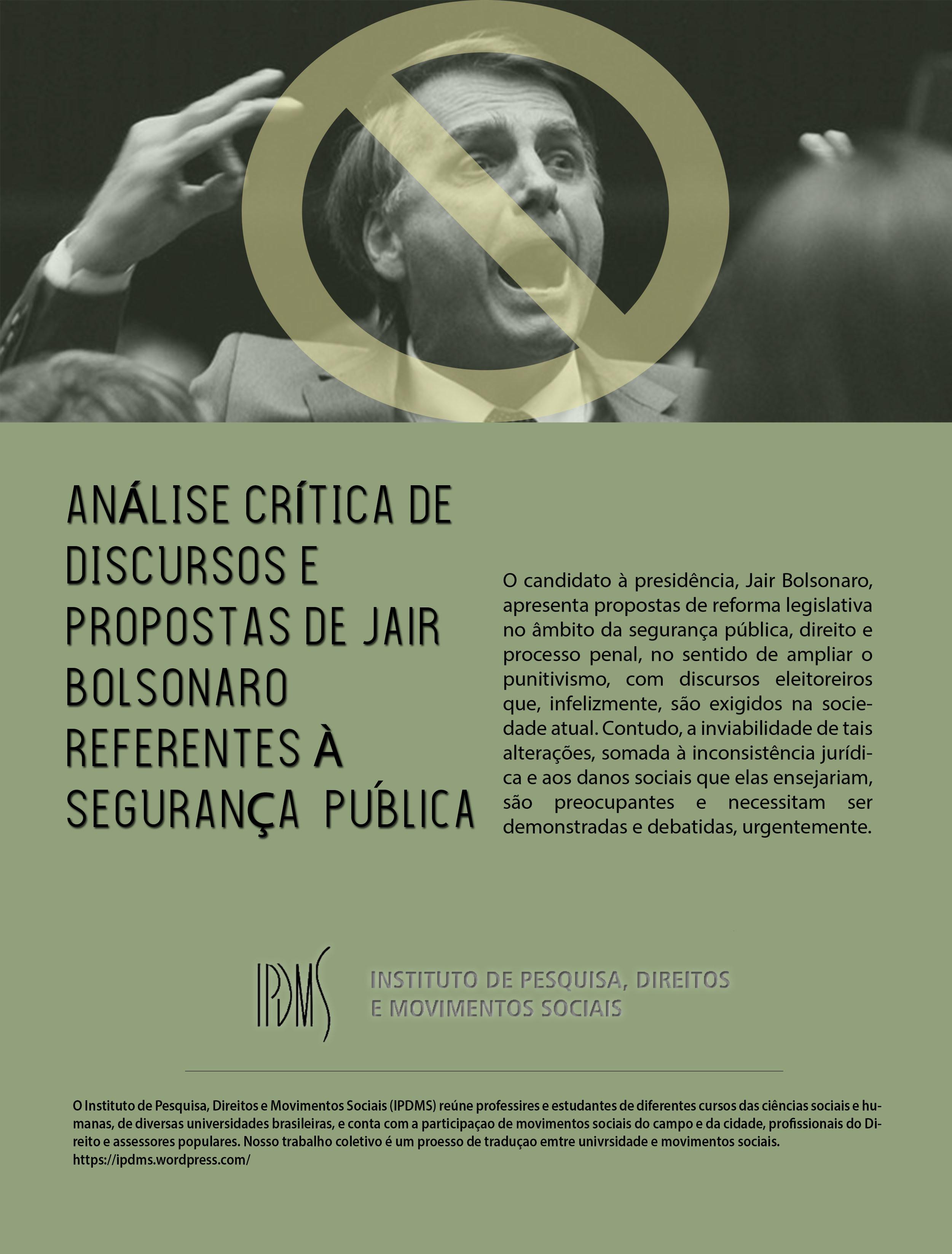 Análise crítica de discursos e proposta de Jair Bolsonaro referentes à segurança pública
